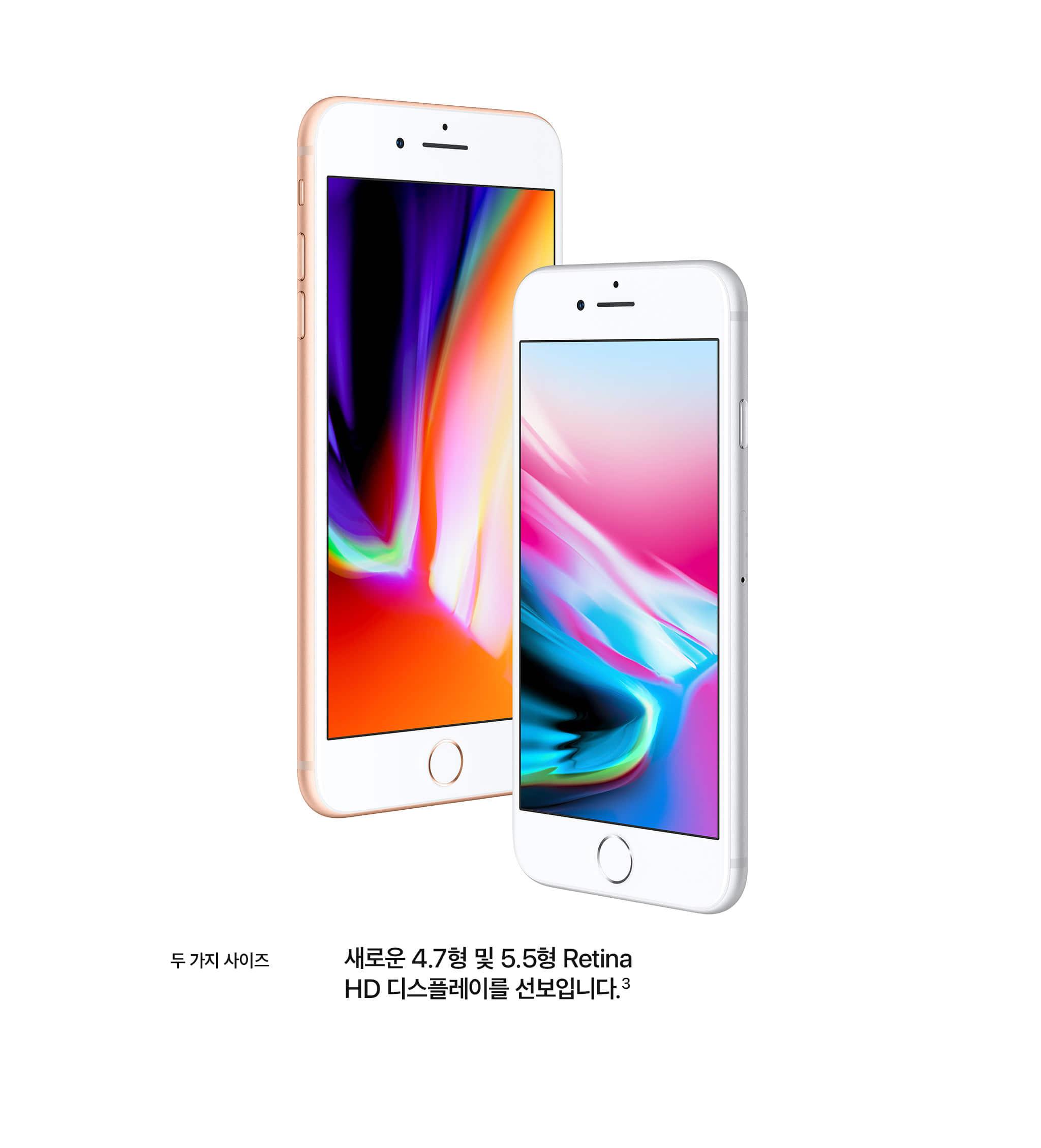 두가지 사이즈 새로운 4.7형 및 5.5형 retina HD 디스플레이를 선보입니다.3